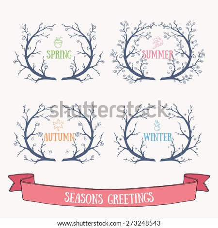 Hand drawn vector seasons wreaths. Spring, summer, fall and winter doodles for invitations and greeting cards. - stock vector