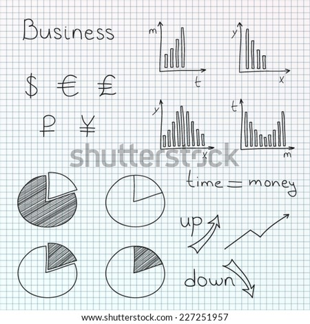 Hand drawn vector set of business planning doodles elements. Isolated on checkered background. - stock vector