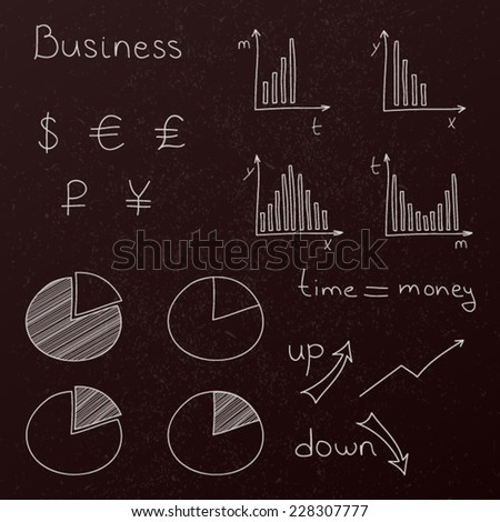 Hand drawn vector set of business planning doodles elements. White lines on blackboard. - stock vector