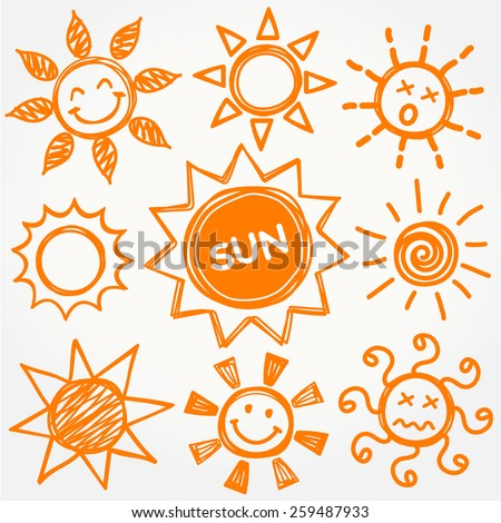 Hand drawn vector set of different suns isolated, Illustration EPS10. - stock vector
