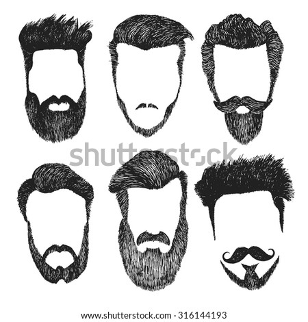 Hand drawn vector set of dress up constructor. Different men faces hipster geek style haircut, beard, mustache. Silhouette icon creation kit. Design sketch avatar for social media or web site - stock vector