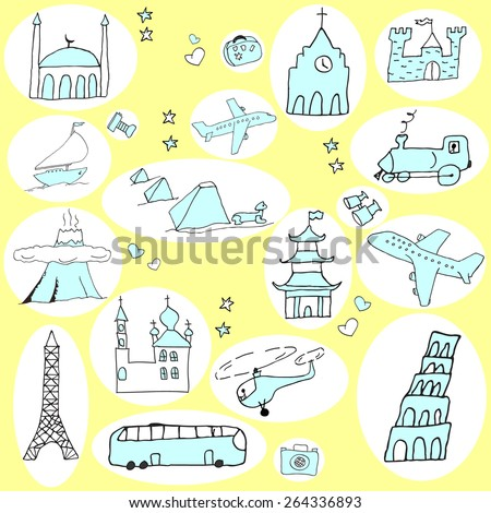 Hand drawn vector set with funny cartoon travel elements and objects on color background. Vector file organized in groups for easy editing - stock vector