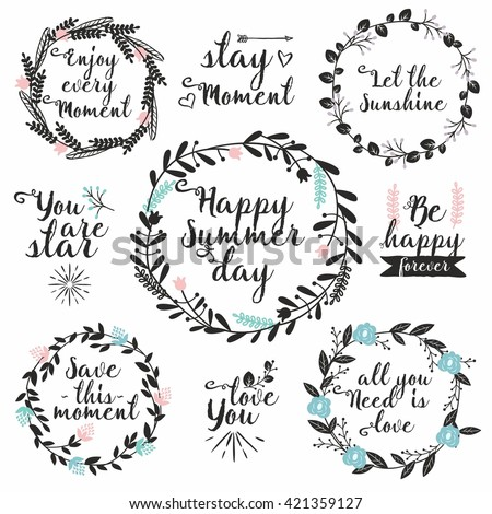Hand drawn vector set with round floral frames and typography. Perfect for wedding invitations, greeting cards. Rustic decorative elements with lettering - stock vector