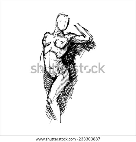 hand drawn vector sketch art of front facing female torso with raised hand - stock vector
