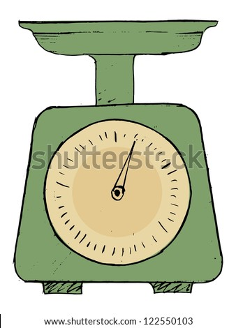 hand drawn, vector, sketch illustration of domestic weigh-scales - stock vector
