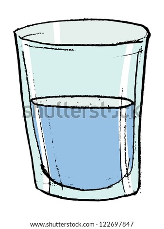 Hand drawn, vector, sketch illustration of glass with water - stock vector