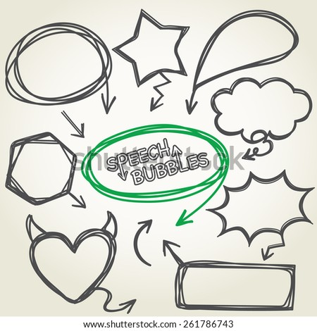 Hand-drawn vector speech bubbles collection design, Illustration EPS 10. - stock vector