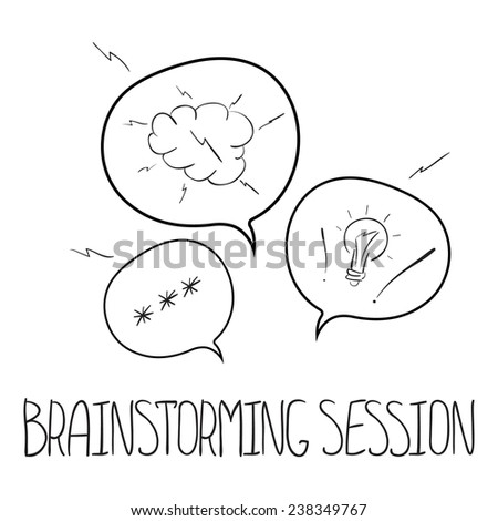 Hand drawn Vector speech bubbles concept brainstorming session - stock vector
