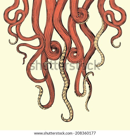 Hand Drawn Vector Tentacles in a rough wood cut style (each tentacle is a separate illustration and can be rearranged or colored as desired). - stock vector