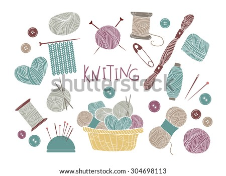 Hand drawn vector vintage illustration - Set of knitting and crafts. Yarn, pins, buttons, thread, needle bar  - stock vector