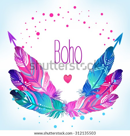 Hand drawn vector wreath with painted bird feathers and arrows  isolated on white background. Colorful set for your design. Trendy  boho style patterned elements, sketch, tribal template. - stock vector