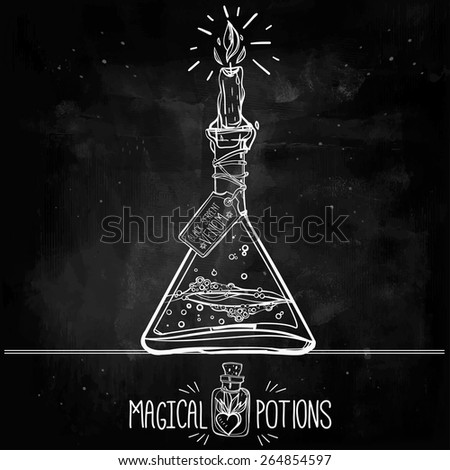Hand drawn vintage alchemy laboratory icons sketch. Chalk on a blackboard. Vector illustration.Jar with the candle. Back to School. Science lab objects doodle vintage style sketch, - stock vector