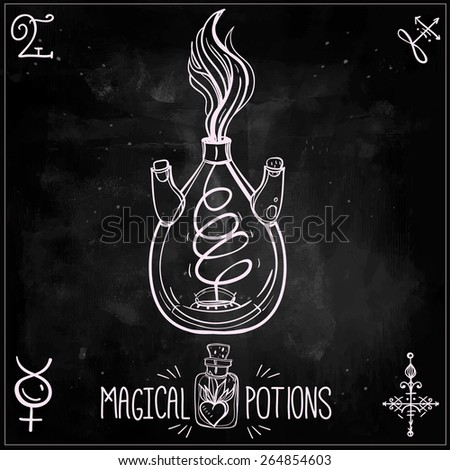 Hand drawn vintage alchemy laboratory icons sketch. Chalk on a blackboard. Vector illustration.Jar with fire flames. - stock vector