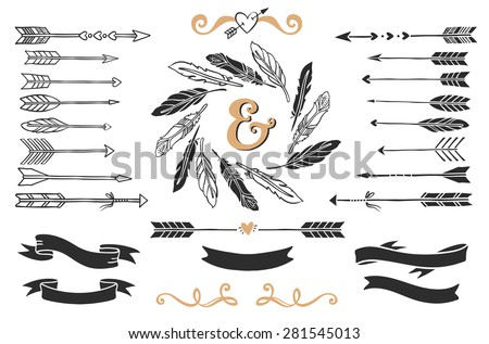 Hand drawn vintage arrows, feathers, and ribbons with lettering. Romantic vector design wedding set. - stock vector