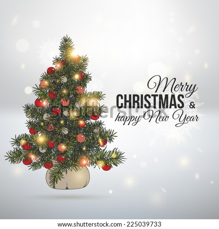 Hand drawn vintage Christmas background. Vector Christmas Illustration with christmas tree. - stock vector