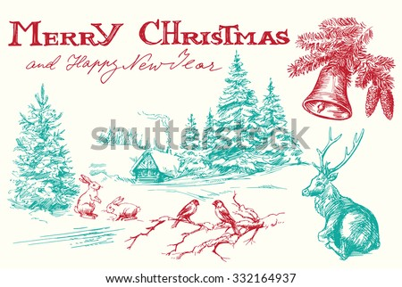 Hand drawn vintage Christmas card - stock vector