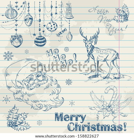 Hand drawn vintage Christmas elements on notebook paper with Santa, deer, toys and holly - stock vector