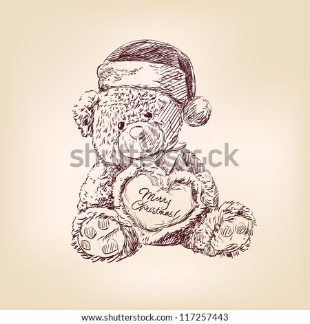 hand drawn vintage christmas  illustration of teddy bear with  heart. - stock vector