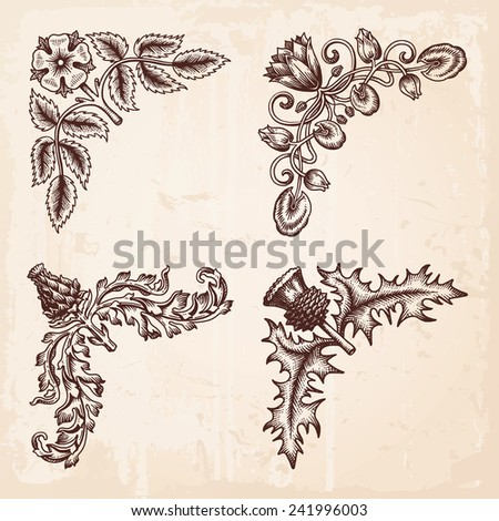 Hand Drawn Vintage Design Elements Corners Vector - stock vector