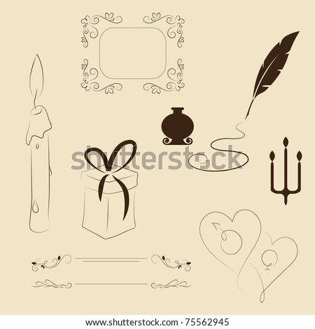 Hand drawn vintage elements and font - stock vector