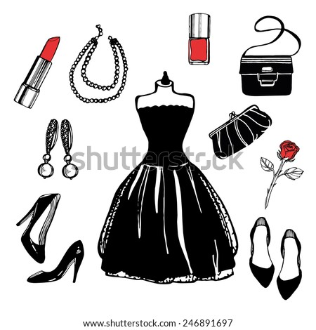 hand drawn vintage fashion set. Little black dress, earrings, pearl necklace, shoes, nail polish, lipstick. bag, clutch. White background - stock vector