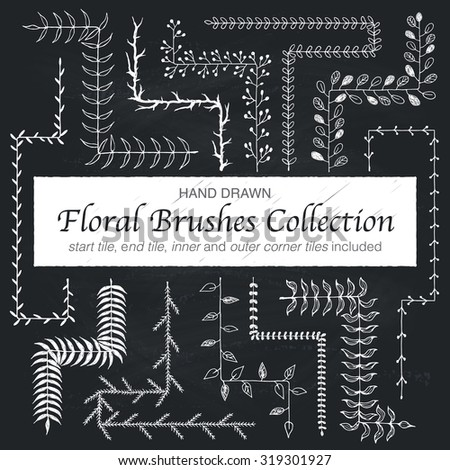 Hand drawn vintage floral brushes. Branch and leaf brushes for wedding invitation, greeting cards and postcard design. Border, divider, wreath. Modern ornamental brushes with outer and inner corners.  - stock vector