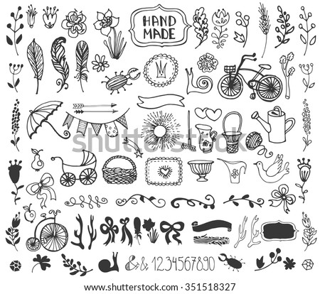Hand Drawn vintage floral decorative elements. Set of flowers, arrow, branches, horn, feathers, garden tool. Doodle rustic vector. Easy to make design templates, invitations card, logo, cafe menu. - stock vector