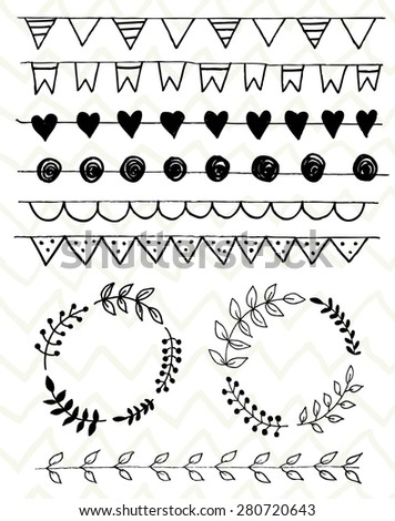 Hand Drawn vintage floral elements. Decorative elements. Floral elements hand drawn with ink. Laurels, frames, swirls, leaves, arrows, branches, banners and curls.  - stock vector