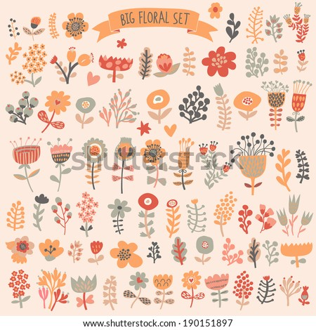 Hand Drawn vintage floral elements. Flower set in vector - stock vector