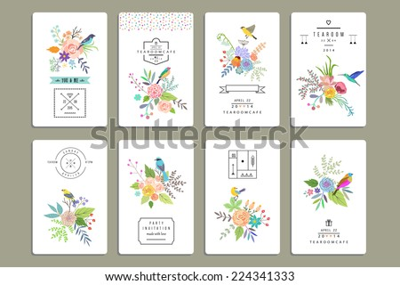 Hand Drawn vintage floral elements. Set of 8 cards with flowers and birds plus decorative elements. - stock vector