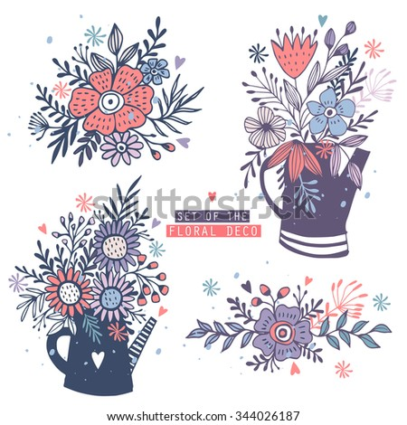 Hand Drawn vintage floral elements. Set of with flowers and decorative elements. - stock vector