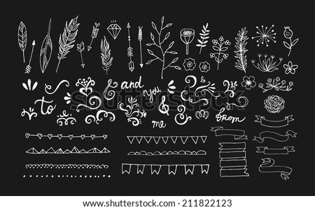 Hand Drawn vintage floral elements. Swirls, arrows, leaves, feathers, dividers, branches, banners and curls. Vector. Isolated. - stock vector