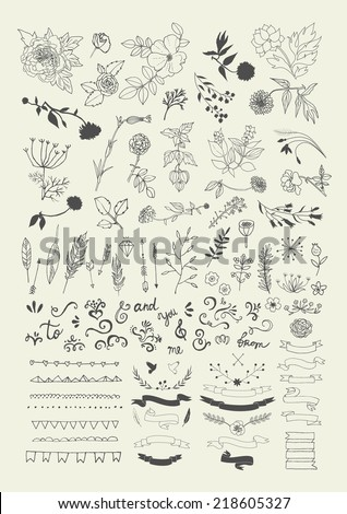 Hand Drawn vintage floral elements. Swirls, laurels, frames, arrows, leaves, feathers, dividers, branches, flowers, banners and curls.  - stock vector