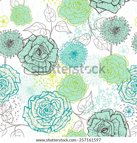 Hand drawn vintage floral seamless pattern in fresh tones . All objects are conveniently grouped  and are easily editable. - stock vector