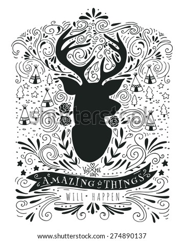 Hand drawn vintage label with a reindeer and lettering. This illustration can be used as a print on T-shirts and bags. - stock vector
