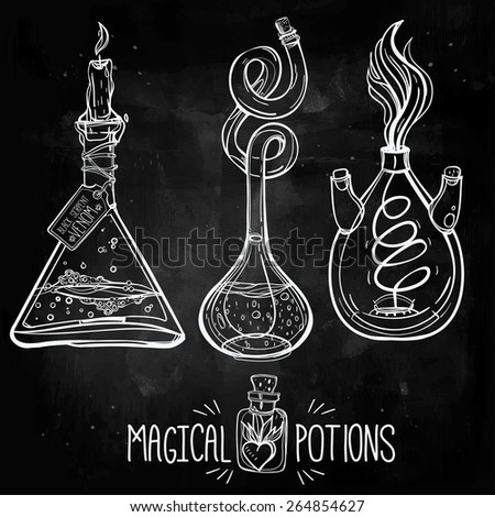 Hand drawn vintage laboratory icons sketch. Chalk on a blackboard. Vector illustration.Back to School. Science lab objects doodle style sketch,Magical potions.Alchemy and vintage medieval science.  - stock vector