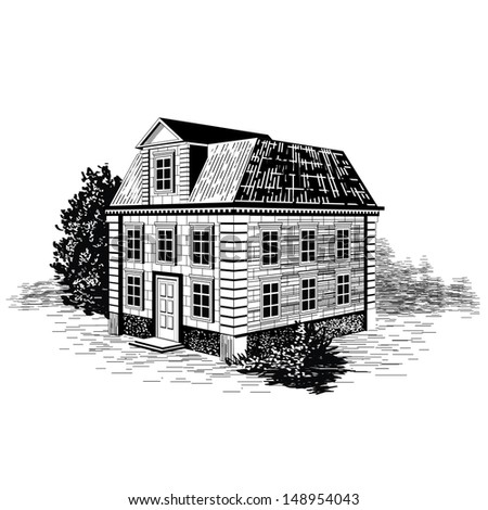 Hand drawn vintage old house - stock vector