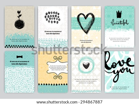 Hand drawn vintage posters set. Vector creative illustration. Romantic cards with text. - stock vector