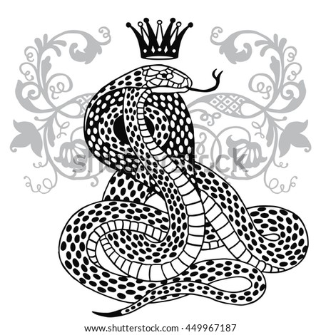 Hand-drawn vintage Snake with Crown. Vector illustration isolated. Aged design linear style. Magic alchemy objects. Tattoo art - stock vector