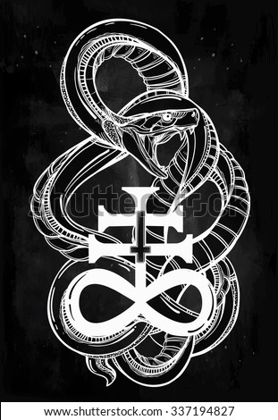 Hand-drawn vintage tattoo art. Vintage symbol, highly detailed hand drawn snake with Satanic cross, symbol of Satan in linear style. Engraved isolated vector art. - stock vector