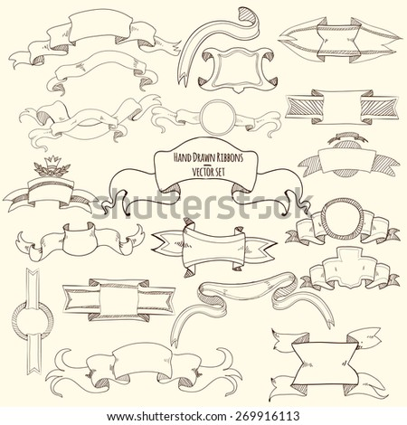 Hand drawn vintage titles blank ribbons set isolated vector illustration - stock vector