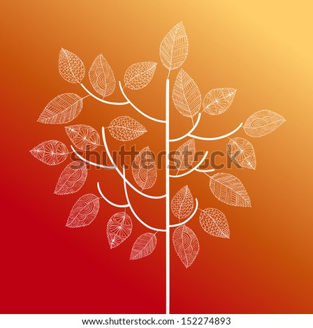Hand drawn vintage tree with cute details over each leaf. Autumn season concept background. EPS10 Vector file in layers for easy editing. - stock vector