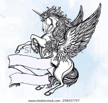 Hand drawn vintage Unicorn mythological winged horse with scroll for your text. Copy space for message. Tattoo element. Heraldry and logo concept art. Isolated vector illustration in line art style. - stock vector
