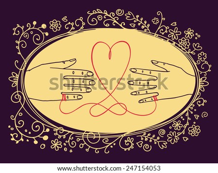 Hand drawn vintage Valentine's Day greetings card or Wedding invitation, with male and female hands connected by the red string of fate - stock vector