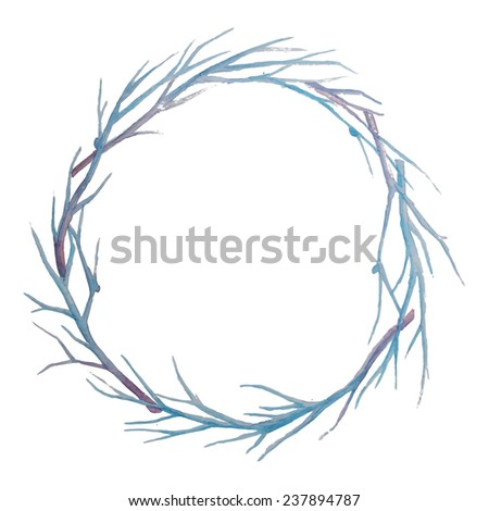 Hand drawn vintage wreath. Watercolor tree branches wreath. Winter vintage frame - stock vector