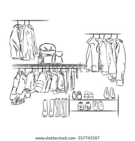 Hand drawn wardrobe sketch for children. Furniture for clothes. - stock vector