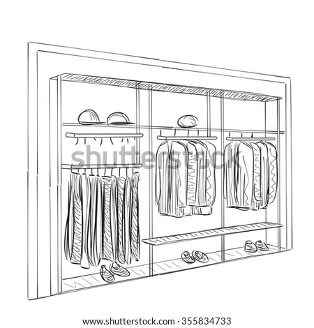 Hand drawn wardrobe sketch. Furniture for clothes. - stock vector