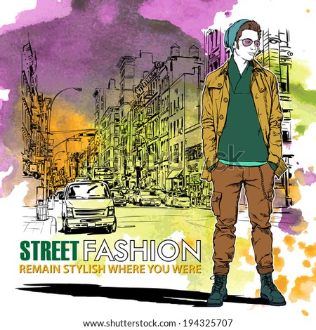 Hand drawn watercolor background with illustration of stylish guy in sketch style. Vector illustration. - stock vector