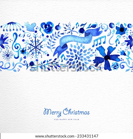 Hand drawn watercolor Christmas elements seamless pattern background. Flower, snowflakes an ribbon in blue with vintage label text. EPS10 vector file organized in layers for easy editing. - stock vector