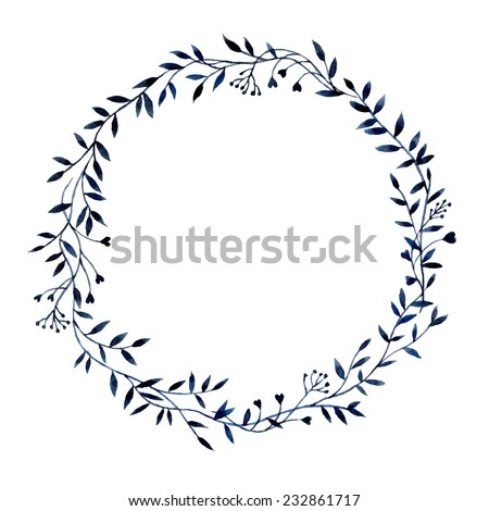 Hand-drawn watercolor floral frame made in vector - stock vector